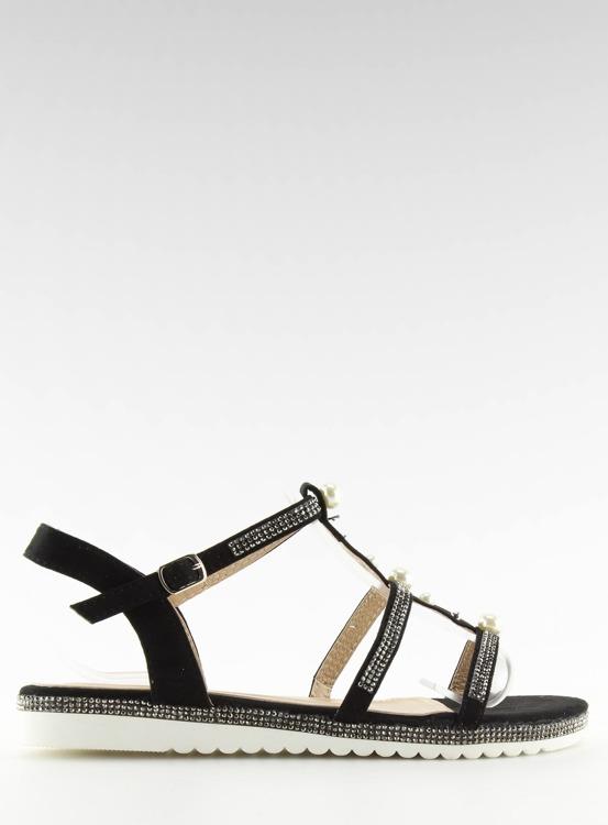 Sandałki z perełkami czarne RC-33 BLACK