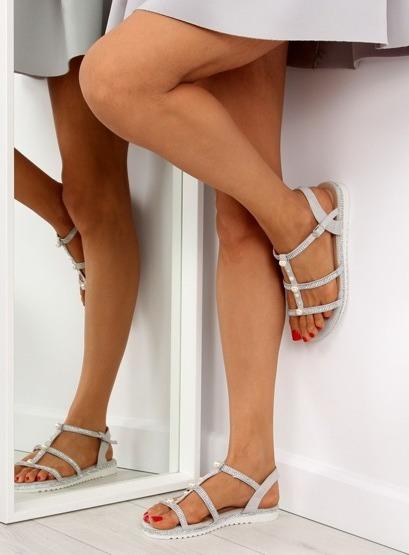 Sandałki z perełkami szare RC-33 GREY