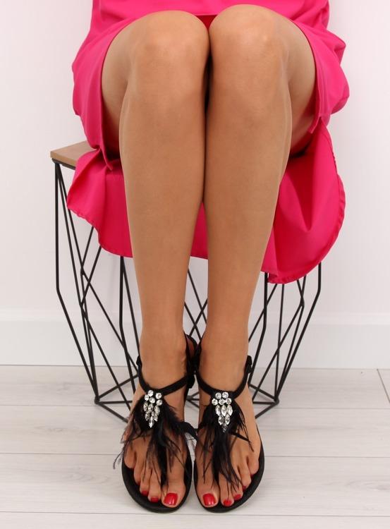 Sandałki z piórkami czarne 7267 BLACK