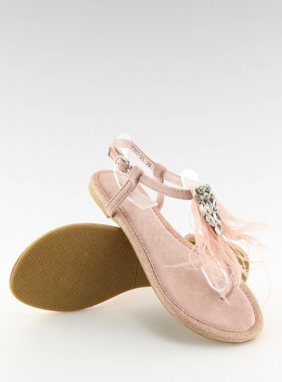 Sandałki z piórkami różowe 7267 PINK