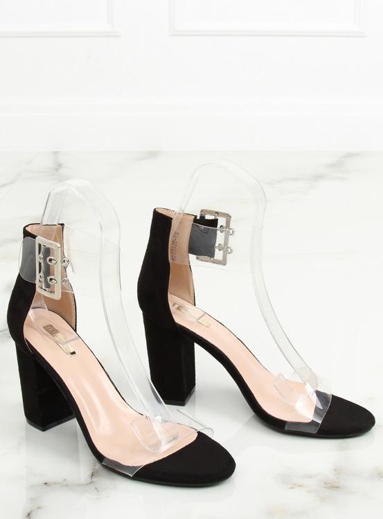 Sandałki z przezroczystymi paskami czarne B4-0218H BLACK