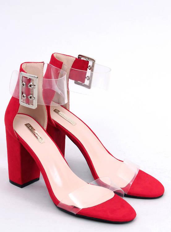 Sandałki z przezroczystymi paskami czerwone B4-0218H RED