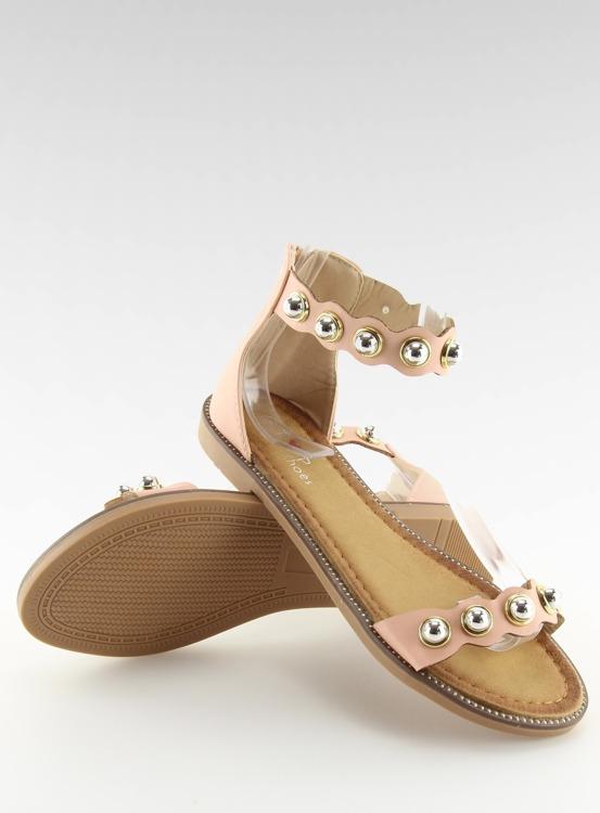 Sandałki zapinane na kostkę różowe VS-376 PINK