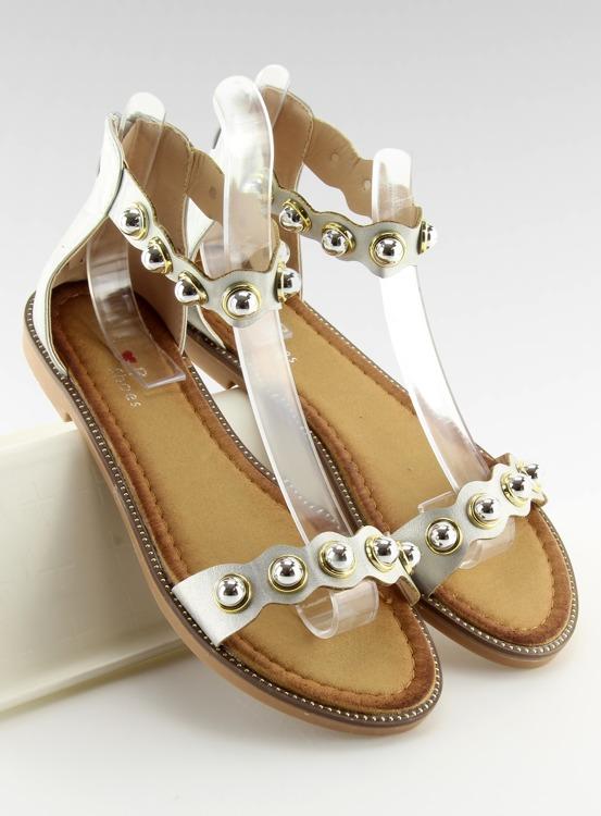 Sandałki zapinane na kostkę srebrne VS-376 SILVER