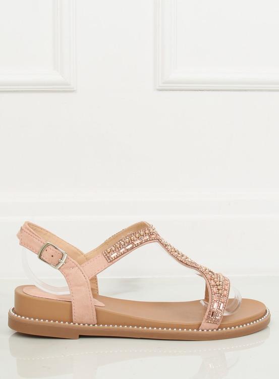 Sandałki zdobione różowe LC-802 PINK