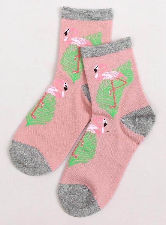 Skarpetki damskie z flamingami SK-NPC3712 RÓŻOWY