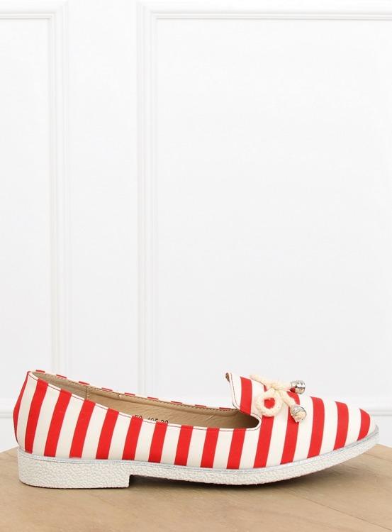 Slip-on w paski biało-czerwone H8-105 RED