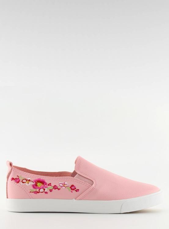 Slipony z delikatnym haftem różowe g1204a PINK