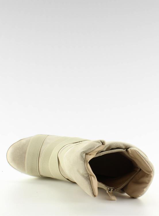 Sneakers z gumowymi pasami F-215 Beige