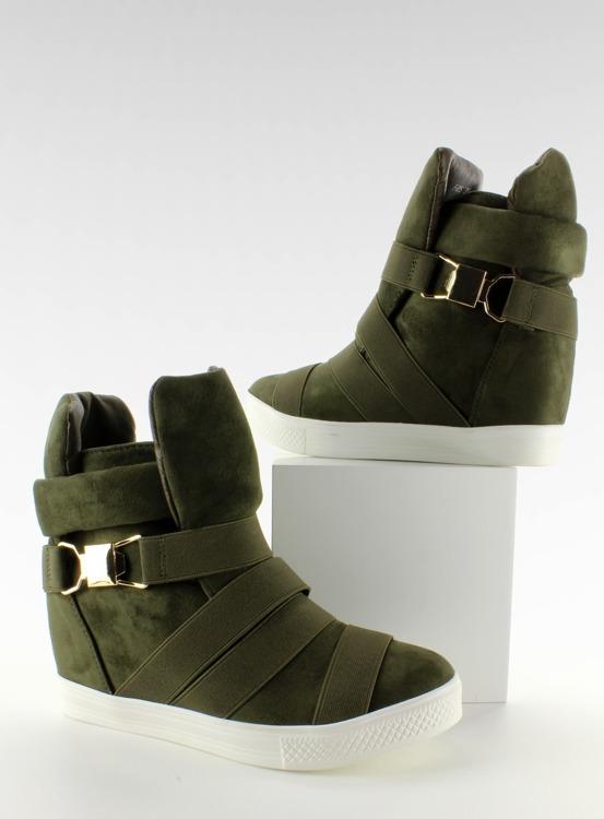 Sneakers z gumowymi pasami F-215 Olive