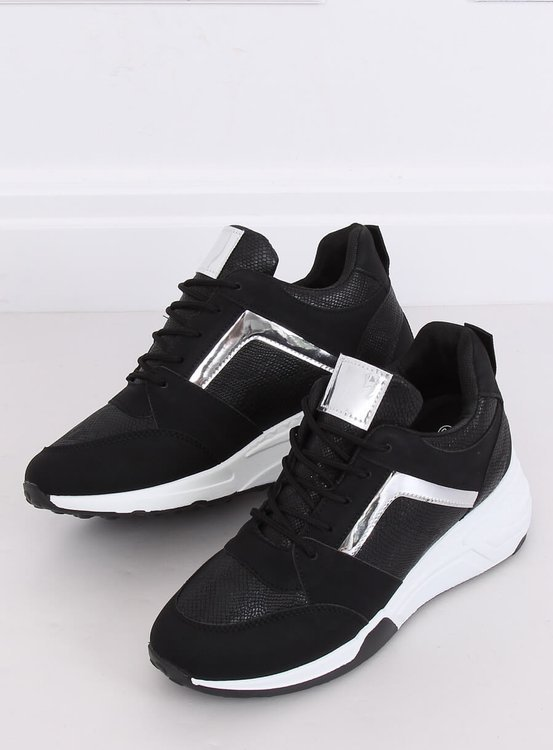 Sneakersy na koturnie czarne YL-33 BLACK