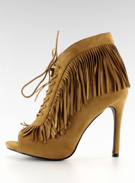 Sznurowane botki open styl boho camel 11015 Camel