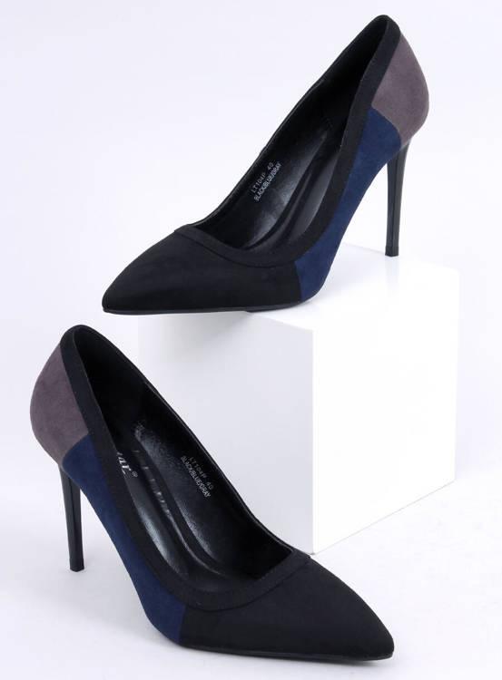 Szpilki damskie tricolor LT104P BLACK/BLUE/GREY