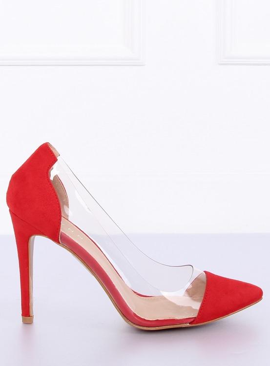 Szpilki transparentne czerwone 9003-56 RED