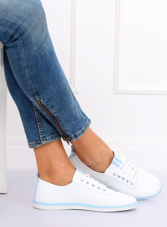 Tenisówki damskie biało-niebieskie XJ-2918 L.BLUE