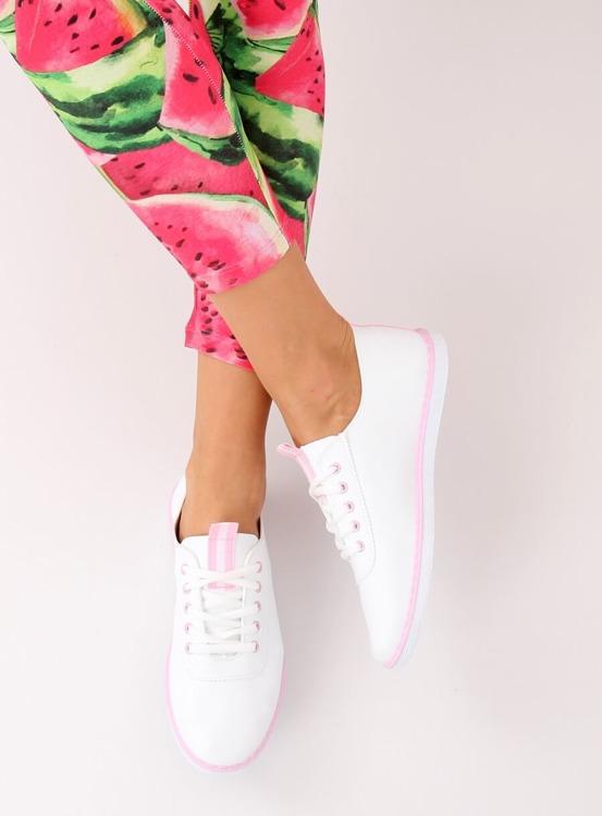 Tenisówki damskie biało-różowe XJ-2918 PINK