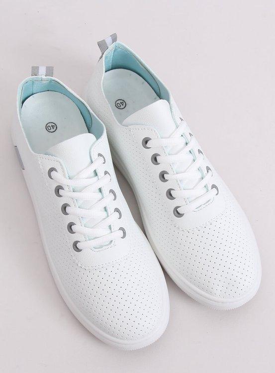 Tenisówki sznurowane biało-szare BB77 GREY