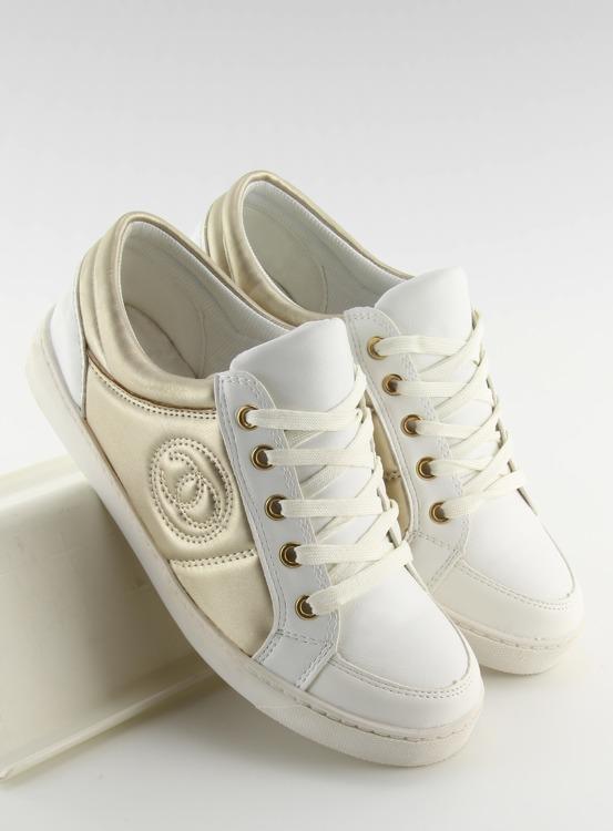 Trampki chanelki Y612-41 WHITE biało-złote