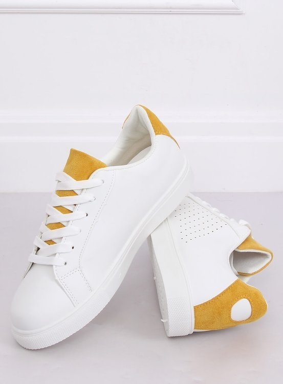 Trampki damskie białe WB807 WHITE/YELLOW