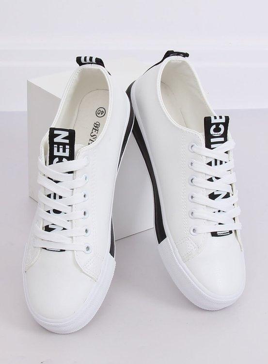 Trampki damskie biało-czarne A88-23 W-BL