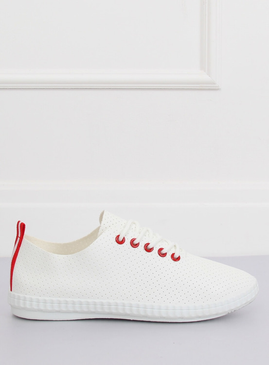 Trampki damskie biało-czerwone B111-17 WHITE/RED