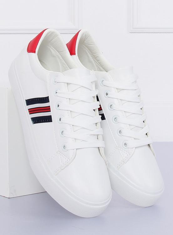 Trampki damskie biało-czerwone BL158P RED