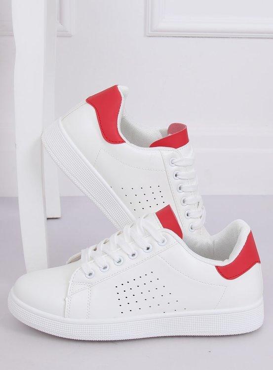 Trampki damskie biało-czerwone LV101P RED