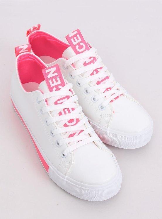 Trampki damskie biało-różowe A88-23 FUSHIA