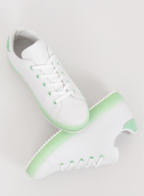 Trampki damskie biało-zielone 9118 GREEN