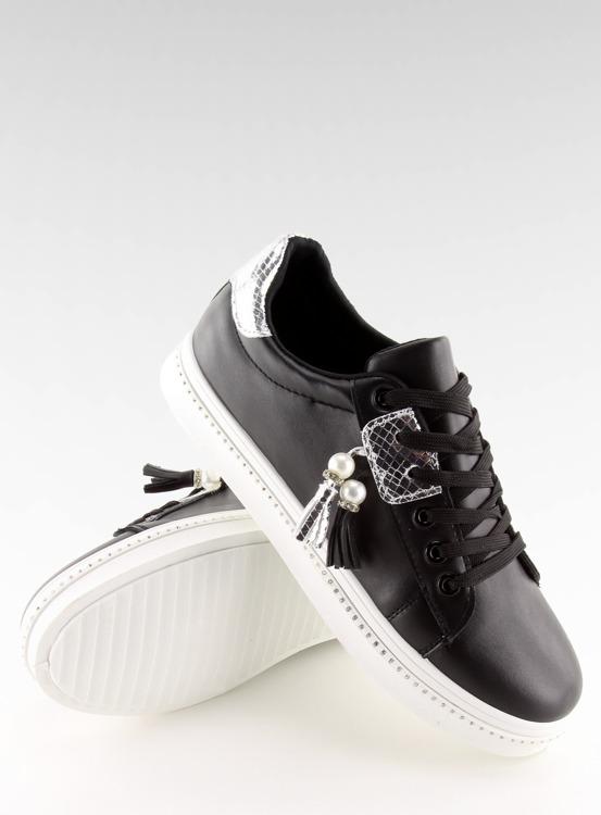 Trampki damskie czarne 88038 BLACK/WHITE