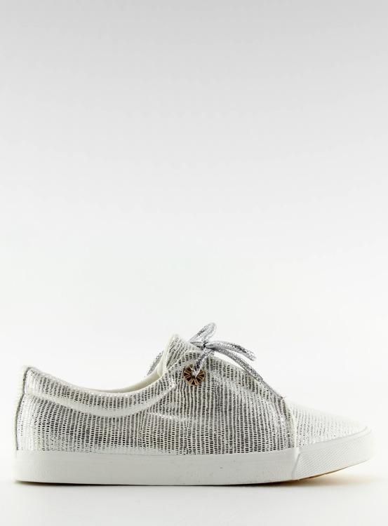 Trampki damskie srebrne  MB102 WHITE