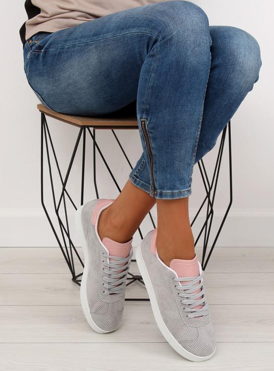 Trampki damskie szaro-różowe BL131P GREY/PINK