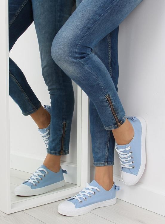 Trampki damskie z kokardką niebieskie  8935 BLUE