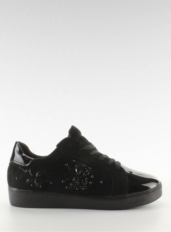 Trampki damskie z kryształkami T273P Black