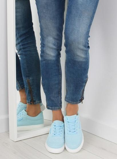 Trampki damskie zamszowe niebieskie NB172 BLUE