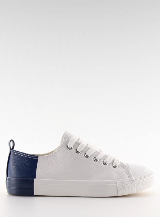Trampki dwukolorowe białe BK378 WHITE/D.BLUE