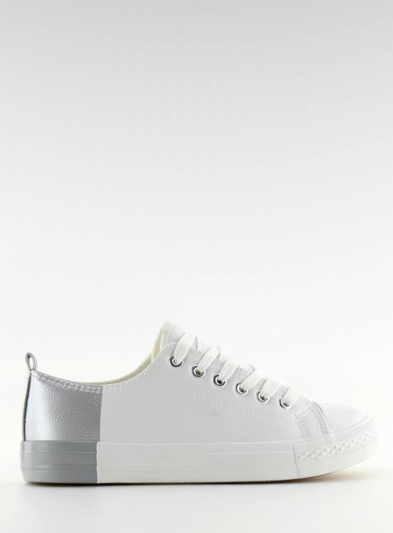 Trampki dwukolorowe białe BK378 WHITE / SILVER