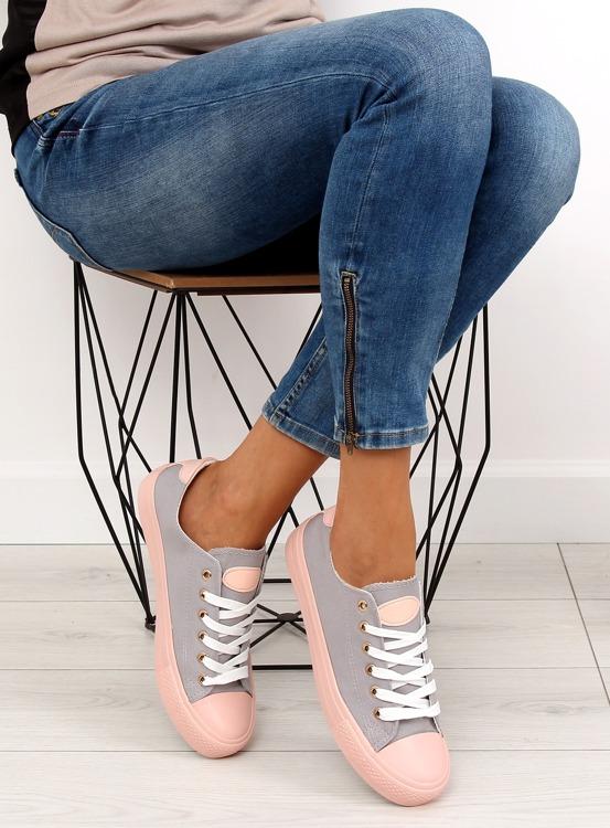 Trampki na kolorowej gumie W-3051 Grey/Pink