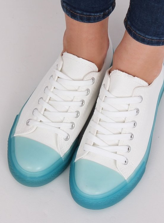 Trampki na kolorowej podeszwie biało-niebieskie FG-2948 BLUE