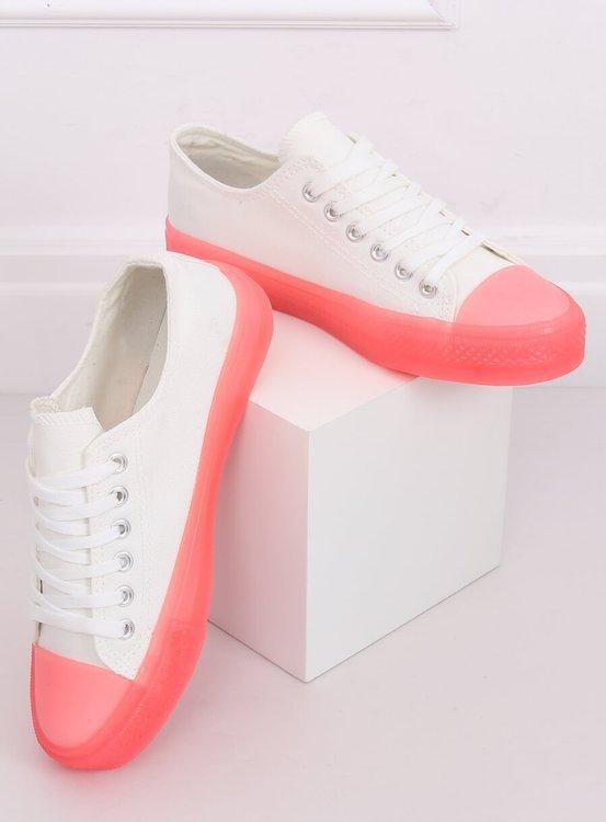 Trampki na kolorowej podeszwie biało-różowe FG-2948 PINK