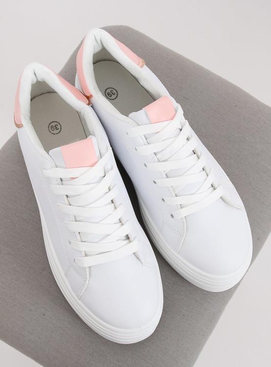 Trampki na wysokiej podeszwie biało-różowe B0-31 WHITE/PINK