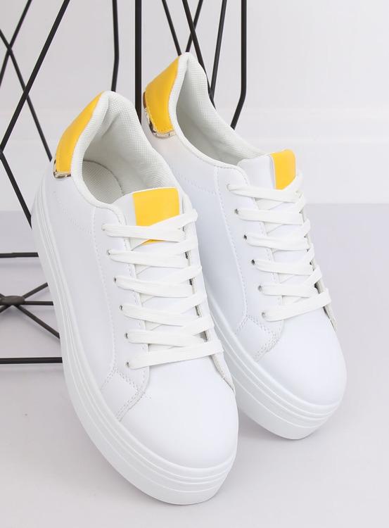 Trampki na wysokiej podeszwie biało-żółte B0-31 WHITE/YELLOW