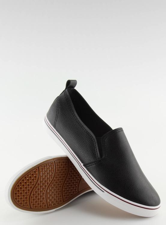 Trampki slip-on licowe czarne xl08p BLACK