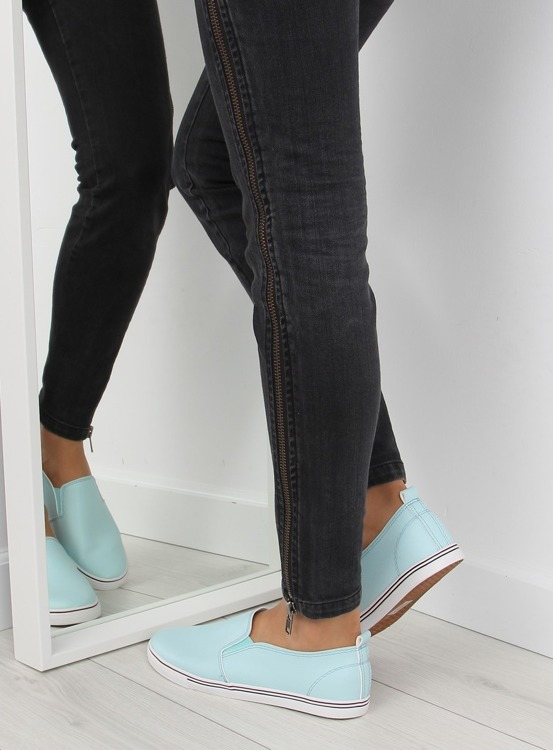 Trampki slip-on licowe niebieskie xl08p L.BLUE