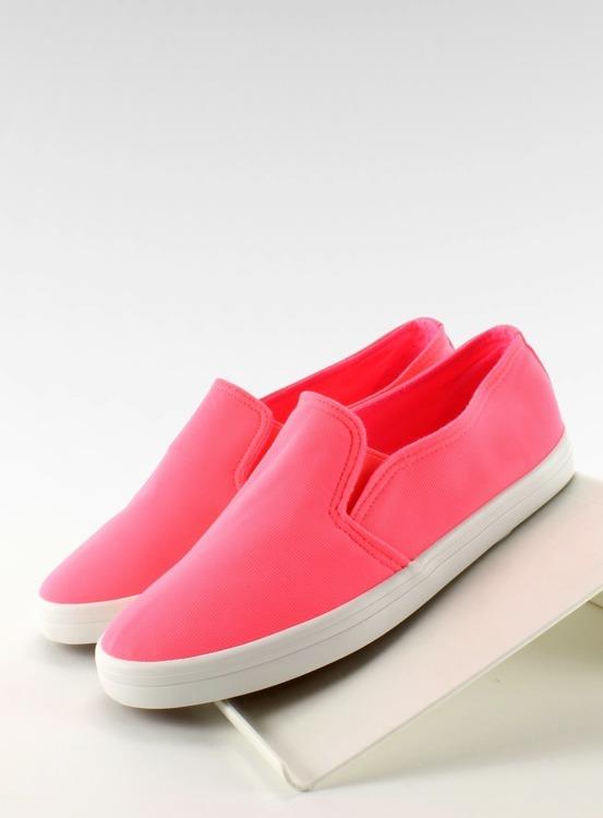 Trampki slip-on materiałowe 1-98 ROSE- RED