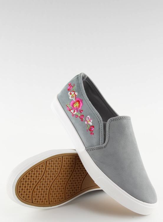 Trampki slip-on z delikatnym haftem szare G1205-9 GREY