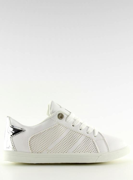 Trampki z gwiazdą białe A6213 WHITE/SILVER