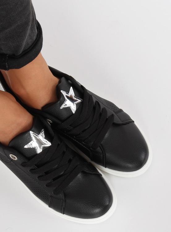 Trampki z gwiazdą czarne A6213 BLACK