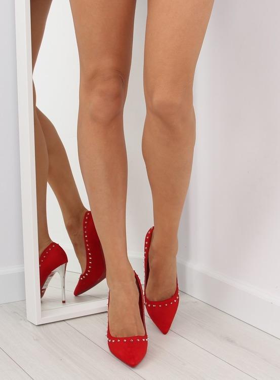Zamszowe szpilki z ćwiekami czerwone nf-04p RED