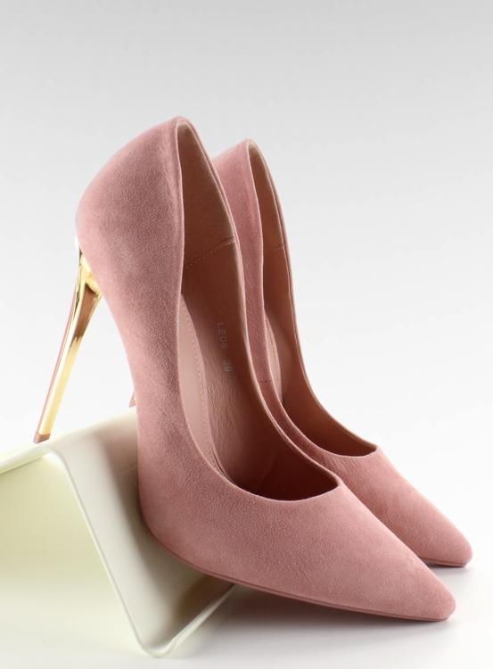 Zamszowe szpilki złoty obcas LE-08 Pink